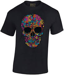 Men's Black Flower Sugar Skull T-Shirt Day of The ... - Amazon.com