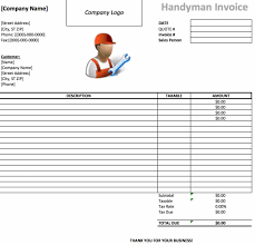 usable invoice template sanusmentis handyman invoice template excel