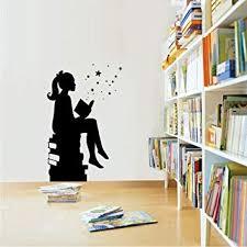 Girl Reading Books Magic Wall Art <b>Decal</b> Libraries Wall Decor ...