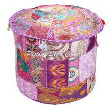Stylo Culture Ethnic <b>Pouffe Ottoman Round</b> Cover Indian <b>Patchwork</b> ...