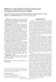 (PDF) <b>Reflective</b> Tape Applied to <b>Bicycle Frame</b> and Conspicuity ...