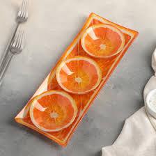 <b>Набор блюд</b> на подставке Доляна «Апельсинки», 3 шт: блюдо 8 ...