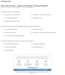 quiz worksheet types of employee training programs com print types of employee training programs worksheet