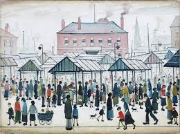Image result for pencil drawing lowry market