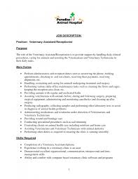veterinary receptionist resume cover letter cipanewsletter best photos of vet receptionist duties veterinary job description