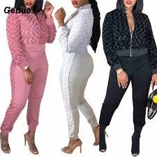 <b>Genuo</b> Black Ruffles <b>Dress</b> Top and Pants Two <b>Piece Set</b> Women ...