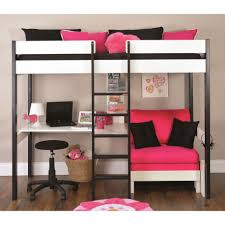 Loft Bed With Sofa Lovely Pink Sofa Under Alluring Bunk Beds With Desk And Dark