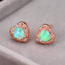 <b>Cute Female Blue</b> Pink Green Opal Stone Earrings Charm Rose ...