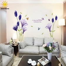 Новой моды фиолетовые тюльпаны цветы <b>наклейки для декора</b> ...