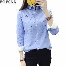 4XL 2018 New Autumn <b>Winter Solid Color</b> Blue Shirt <b>Women</b> Long ...