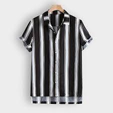 <b>Men</b> V-neck Fashion Shirt Tops, Male Color <b>Striped Printed</b> Beach ...