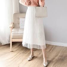 2019 的 <b>Net gauze</b> pleated skirt long skirt women 2019 spring dress ...