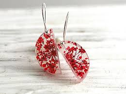 <b>NEW</b>: Real <b>flower</b> sterling silver semi <b>circle</b> earrings. Red queen ...