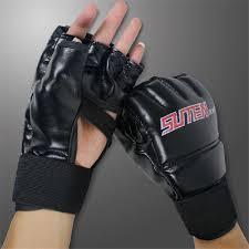 MMA Mitts <b>Half</b>-<b>finger Fitness</b> Boxing Gloves Punch Bag Training ...