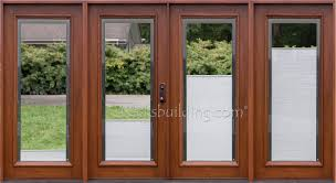 patio doors with blinds between the glass: wood patio doors with shades between glass