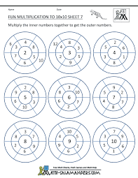 Fun Multiplication Worksheets to 10x10Fun Multiplication to 10x10 Sheet 7 ...