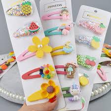 10/<b>5pcs set</b> Girls Kids Barrette <b>Hairpins Flower</b> Hair clip Cute ...