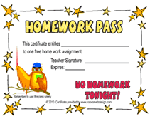 Our list of free printable homework pass templates