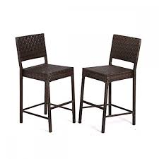 patio stool:  pcs outdoor wicker barstool all weather brown patio furniture bar stool