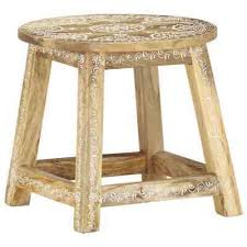 vidaXL Solid Mango Wood <b>Hand-painted Stool</b> 38x38x35cm ...
