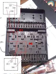 help ac auxilliary fan and k1 relay fuse box top labeled where the pins are located for k1 and k6