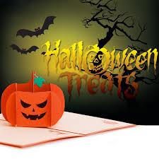 <b>3D Halloween Pumpkin</b> Skull Card Handmade Greeting Card ...