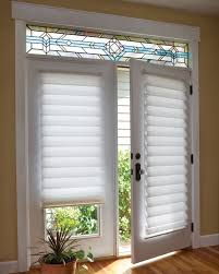white roman shade on french door with stained glass blind shades sliding glass