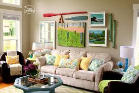 decoration astonishing spring living room decor ideas with tan color fabric sectional sofa and colorful astonishing colorful living