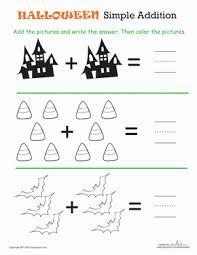 Halloween Math: Simple Addition 1 | Worksheet | Education.comHalloween Kindergarten Counting & Numbers Addition Worksheets: Halloween Math: Simple Addition 1