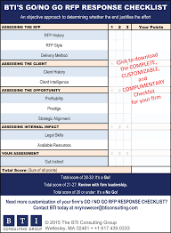 your rfp go no go checklist for winning the best work bti click here to the complete customizable and complimentary rfp go no go response checklist for your firm