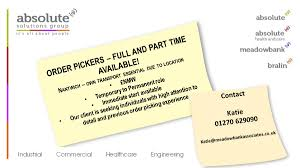 meadowbankassociates on nantwich order pickers nantwich order pickers starting asap temp to perm call katie amelia donnelly 01270 629090 katie meadowbankassociates co uk jobspic com