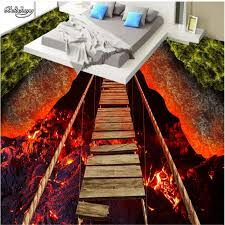 <b>beibehang Custom</b> large fresco thrilling rope bridge volcanic lava ...