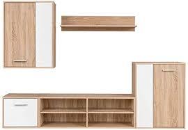 vidaXL <b>TV Wall Unit Set</b> 5 Piece Sonoma Oak Cabinet Display Shelf ...