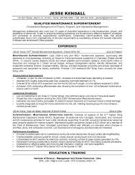 free maintenance superintendent resume example