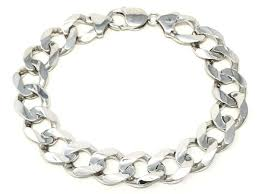 Men's <b>Solid 14K White Gold</b> Flat Cuban Chain Bracelet Link 7.5 ...