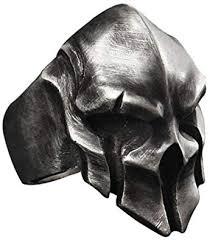 W WOOGGE Men's Gothic Biker Punk Vintage Ring <b>Spartan</b> Mask