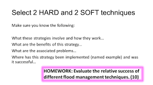 lo to describe a range of flood management techniques to define 4 select