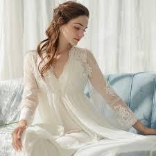 <b>Vintage</b> Women's <b>Nightgowns</b> White <b>Lace</b> 2 Pics <b>Robes</b> Royal ...