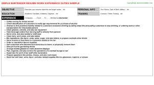 job titlebartender resume