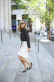 flounce hem pencil skirt and polka dot blouse memorandum nyc work style blog