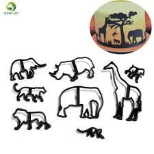 8PCS <b>Animal</b> Cookie Cutter <b>Plastic</b> Elephant Lion Giraffe <b>Leopard</b> ...