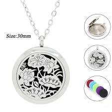 30mm silver <b>lotus</b> design pendant necklace for women 316l ...