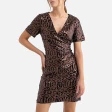 <b>Платье</b> короткое <b>облегающее</b> с блестками, v-образный ...