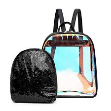 Yeldou <b>Clear</b> Backpack,<b>Jelly Color</b> Sequins <b>Transparent</b> PVC ...