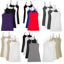 AAD Active <b>Basic CAMI</b> Spaghetti Strap <b>Camisole Tank</b> Top With W ...