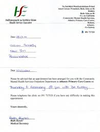 dr deirdre hussey appointment for th from medical appointment letter to see consultant psychiatrist dr deirdre hussey on 6th 2014 from hse health service executive medical secretary ruth hynes