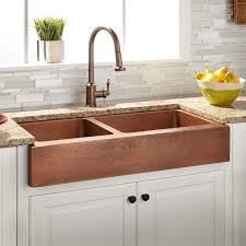 hammered copper kitchen sink: quot vernon   double bowl hammered copper retrofit farmhouse sink