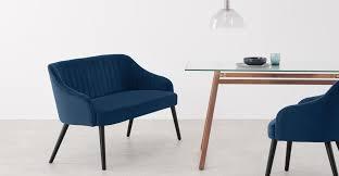 Boltan Dining <b>bench</b>, Blue <b>Velvet</b> and <b>Black</b> Wood Legs | MADE.com