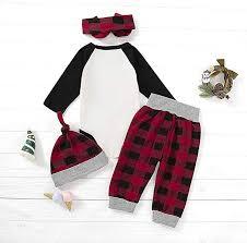 <b>Baby</b> Girls Boys <b>Christmas Clothes</b> Long Sleeve <b>Romper</b> + Pants