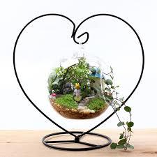 Heart Moon Hanging Stand <b>Crystal Flower</b> Vase <b>Plant</b> Holder Iron ...